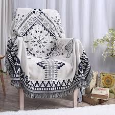 jeter un canapé américain style canapé couverture 100 coton bleu plaid jeter