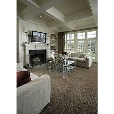 living room with medium beige frieze twisted carpet flush light