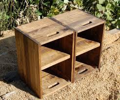 Table En Caisse En Bois Caisses En Bois Table De Chevet Paire De Côté Tables