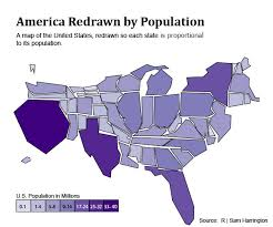 map us states population what the us map would look like redrawn by population random xkcd
