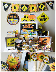truck birthday party construction party printable construction birthday decorations