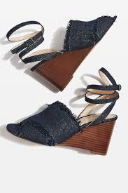 whirl denim cross over wedge sandals shopperboard