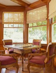 chess table family room mediterranean with beige dining chairs beams