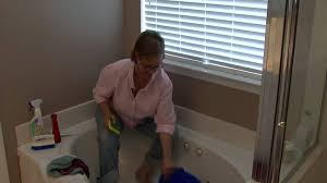 bathroom cleaning tips how to clean a stained bathtub youtube