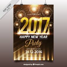shiny brochure with new year fireworks vector free