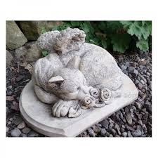 cat memorial grave marker cast garden ornament statue