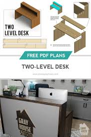 Build A Studio Desk Plans by Two Level Desk Diy With Free Plans Gray House Studio