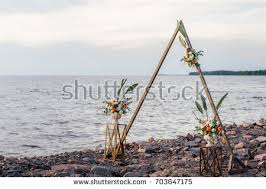 wedding arches coast beautiful caucasian wedding ceremony garden stock photo