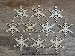 3 inch snowflake wood ornaments 10 pack style 4