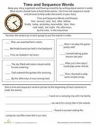 sequence words worksheet worksheets