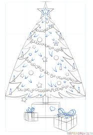 how to draw a сhristmas tree step by step drawing tutorials