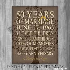 50th anniversary gift ideas for parents 5oth anniversary gift 50 years personalized print canvas