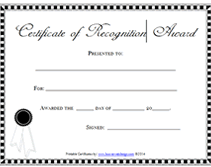 printable certificate of recognition awards certificates templates