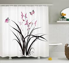 Orchid Shower Curtain Chinese Shower Curtains Amazon Com