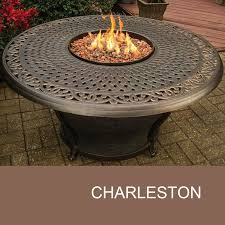 48 Inch Round Table by Agio Charleston 48 Inch Round Cast Top Gas Fire Pit Table