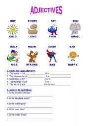 adjective worksheets grade 1 teaching worksheets adjectives