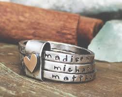 stackable personalized rings rustic stack ring etsy