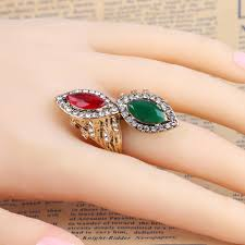 ring finger rings images Kinel vintage red amp green stone rings for women antique gold jpg