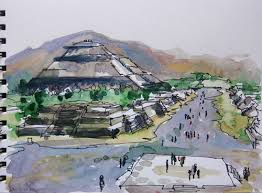 pyramid of the sun and the moon teotihuacan near mexico city