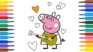 how to draw peppa pig with guitar coloring pages drawing peppa