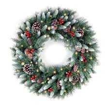spruce pre lit wreath with 50 battery operated white led lights