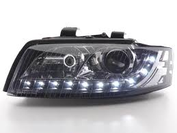 audi a4 headlights headlights daylight led audi a4 8e b6 01 04 black dbrtuning