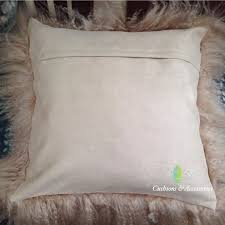 White Fur Cushions Mocha 45x45cm Genuine Mongolian Sheepskin Lamb Wool Fur Cushion