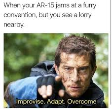 Meme Bear Grylls - improvise adapt overcome know your meme