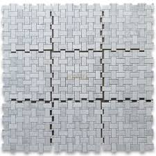 carrara white 1x2 basketweave mosaic tile w carrara white dots
