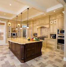 Oversized Kitchen Island by Beige Cabinets Kitchen Traditional With Old World Kitchen