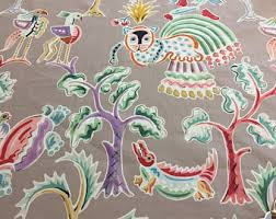 Upholstery Fabric With Birds Purple Green Upholstery And Curtain Fabric With Birds Modern