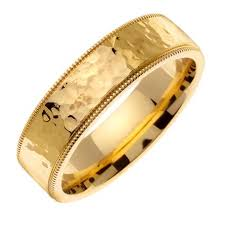 mens gold wedding band men s polished hammered finish wedding band in 18k yellow gold 7 0mm