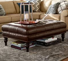 square leather coffee table martin tufted leather ottoman pottery barn intended for leather