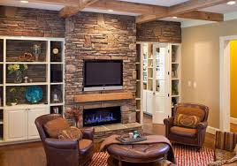 35 decorations interior flat tv installed on stone fireplace with