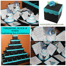 turquoise u0026 black quinceanera exploding box invitation jinkys crafts