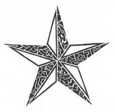 white and black tribal nautical star tattoo design