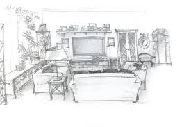 freehand sketch perspective architectural drawing of living room