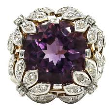 amethyst engagement rings 1960s amethyst diamond gold floral design ring at 1stdibs