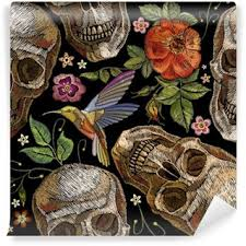 embroidery skull and roses humming bird and flowers seamless