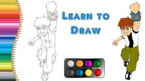 draw colour ben 10 easy lesson kids