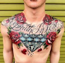 amazing diamond with roses tattoo on man chest