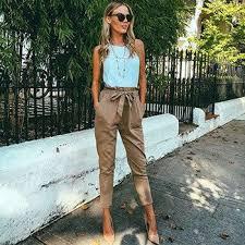 2017 women fashion chiffon high waist harem pants bow tie