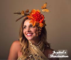 woodland fairy halloween costume demeter harvest goddess autumn headdress rust orange squash gourd
