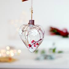 glass hanging decoration bauble filled with snow mini
