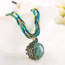 turquoise stone pendant necklace images New peacock decoration rough necklace short clavicle female chain jpg