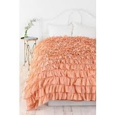 waterfall ruffle duvet cover peach king by urban outfitters