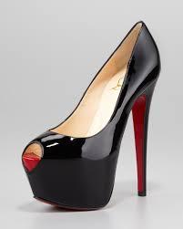 christian louboutin highness platform red sole pump black in black