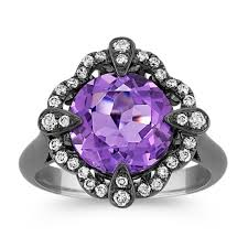 black rhodium engagement rings amethyst and ring with black rhodium shane co