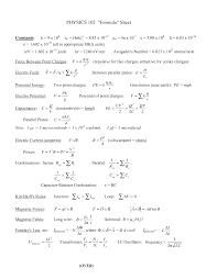 Ap Physics C Reference Table Physics 2 Formulas Almost Every Formula You Need Physics
