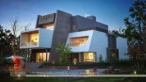 Home Exterior Design Plans Night View Of 3d Modern Contemporary Bungalow Architecture